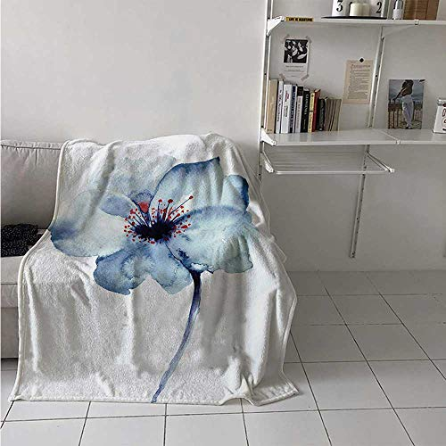 maisi Watercolor Digital Printing Blanket Artistic Design of a Spring Flower with Blue Tones Birth of Life Theme Print Summer Quilt Comforter 62x60 Inch Pale Blue