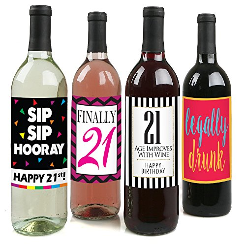 Chic 21st Birthday Wine Label Pack - Birthday Party Supplies, Ideas and Decorations - Funny Birthday Gifts for Women