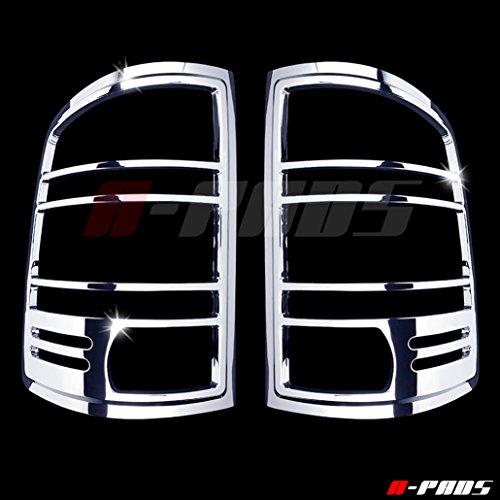 (A-PADS Chrome Tail Light Covers for GMC SIERRA [All Models] 2007-2013 - Chromed Rear Lights Bezel PAIR)