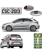 Kit Adesivos Emblema Bandeira Brasil Placa Coluna Traseira