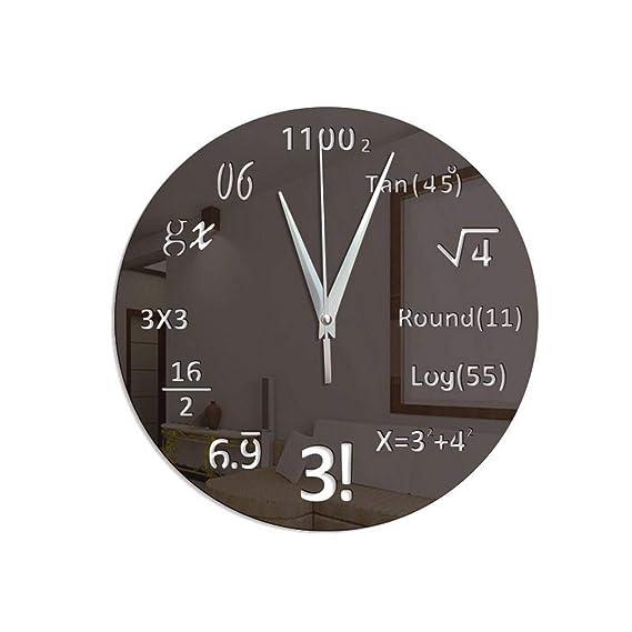 Fenido Relojes de Pared DIY Reloj matemático Fórmula matemática Reloj de Pared Decoración de la Oficina