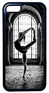 Generic Abandoned Building Ballet Dancer Black And White Cell Phone Case for iPhone 5C Rubber Black