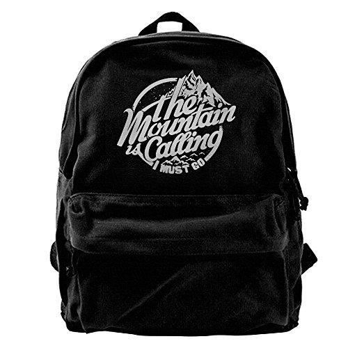 - Kingser Mountain Calling Canvas Shoulder Backpack Awesome Baseball Backpack For Men & Women Teens College Travel Daypack Black