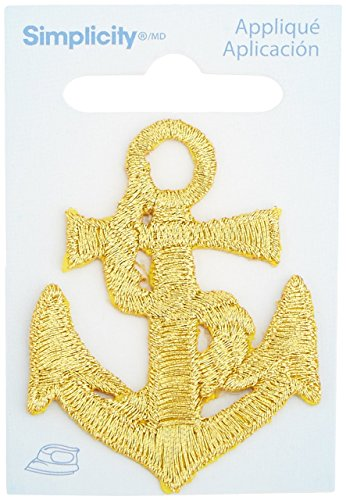 Wrights Iron-On Applique, Gold Anchor
