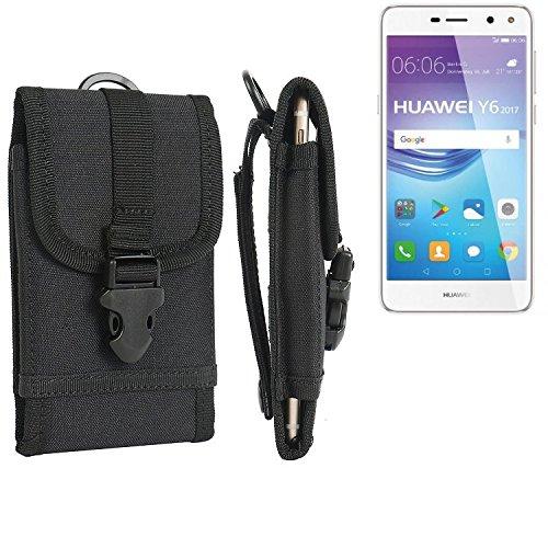bolsa del cinturón / funda para Huawei Y6 2017 Single SIM, negro | caja del teléfono cubierta protectora bolso - K-S-Trade (TM)
