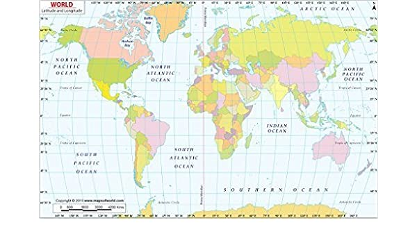 Amazon.com : World Map with Latitude and Longitude ...