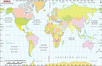 Amazoncom World Map With Latitude And Longitude Laminated - World map with latitudes