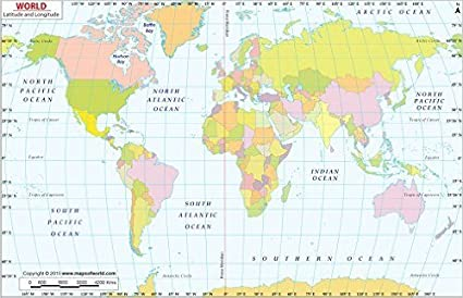 Amazon.com : World Map with Latitude and Longitude - Laminated (36 ...