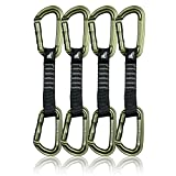 Fusion Climb 4-Pack 12cm Tactical Military Rescue Quickdraw Set with Contigua Straight Gate Green/Contigua Straight Gate Green Carabiners