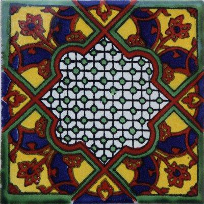 Amazon.com: 6 x 6 4 Pcs Azteca mexicano de Talavera Tile ...