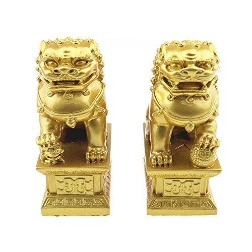 Muzuri Gold Wealth Porsperity Pair of Fu Foo Dogs Guardian Lion Statues Figure House Protection + Free Handmade Adjustable Luck Red String Bracelet (Lion Statues Pair)