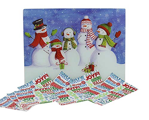 Holiday Christmas Glass Cutting Board: Decorative Winter Snowmen Design with 24 Matching Paper -