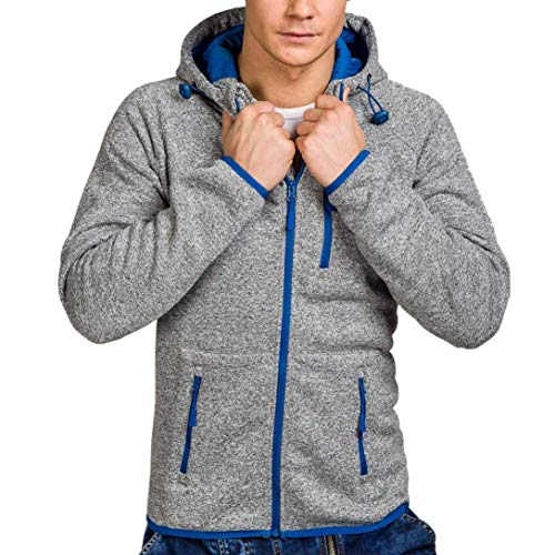 kaifongfu Jacket Top for Men,Men's Long Sleeve Zip Sweater Hoodie Coat Pullover Top(Gray,2XL) by kaifongfu-mens clothes
