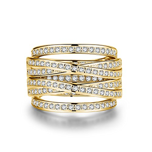 Yellow Gold-Plated Spiral Ring with Zirconia Crystal Pave (Yellow gold plated, 7)