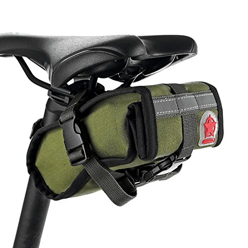 Abonnylv Folding bike Cycling Seat Bag Road Bicycle Bike Personalized Canvas Saddle Bag Basket Seat Bag Army Green