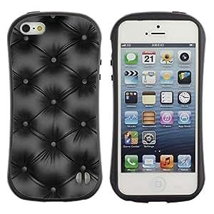 LASTONE PHONE CASE / Suave Silicona Caso Carcasa de Caucho Funda para Apple Iphone 5 / 5S / Minimalist Black Diamond Leather