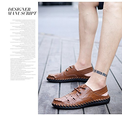 Xiaolong 2018, New Summer Casual Leather Shoes, Men's Baotou Sandals, Men's Breathable Leather, Anti Skid Beach Shoes. Brown