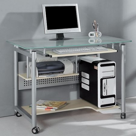 Contemporary Deluxe Computer Desk - Classy Rolling Computer and Laptop Desk with keyboard tray, Contemporary Design with Deluxe Large Working Area, Mobile Office Furniture, in Glass and Silver-Colored Metal (40 x 24 x 30 inches)