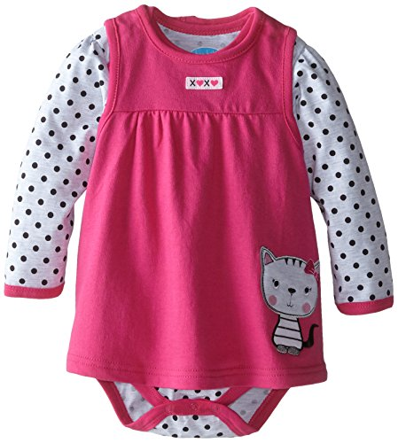 Dot Jumper Set - Bon Bebe Baby-Girls Infant Kitty Cat and Polka Dots Bodysuit with French Terry Jumper Set, Multi, 18 Months