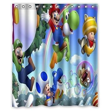 ScottShop Custom Super Mario Shower Curtain Decoration High Quality Waterproof Polyester Fabric Bathroom Curtains 60