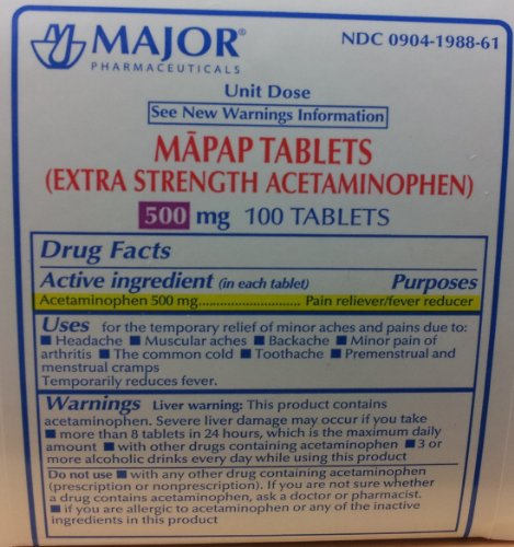 Mapap Acetaminophen Extra Strength 500mg Tablets - 10 x 10 Unit Dose, 100 Tablets (2 PACK) -  Major Pharmaceuticals @, 309041988613