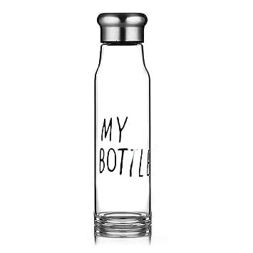 Ecológica HMILYDYK cristal de borosilicato deporte botella de agua, a prueba de fugas, hecho