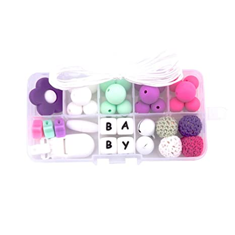 Natural Infant Product DIY Teether Set Silicone Beads Crib Toys Pacifier Clips