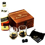 Image of Whiskey Stones Gift Set of 8 with Fancy, Beautiful Polished Granite Whiskey Rocks. 2 Deluxe Crystal Whiskey Glasses, Felt Carry Bag, Quality Wooden Gift Box. Whiskey Glass Set Keeps Drinks Cold & Pure