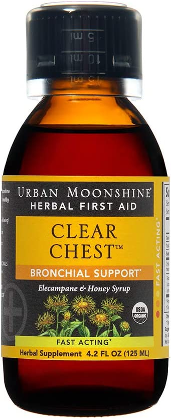 Urban Moonshine Clear Chest | Organic Herbal First Aid Supplement with Elecampane & Honey Syrup | Fast-Acting Bronchial Support | 4.2 FL OZ (Pack of 1)