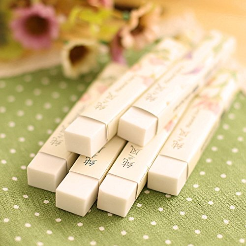 Katoot@ 6pcs/lot New White Eraser For Pencil Cute strip rubber erasers for kids clean material office school supplies escolar