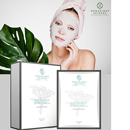 Organique Science Ice Plant Stem Cell Facial Sheet Mask   Silver Medal Winner of 2016 Salon Des Inventions de Geneve  Transform Your Skin to be Soft, Supple and Glowing!  Aging is something we cannot prevent, but it's something we can manage ...
