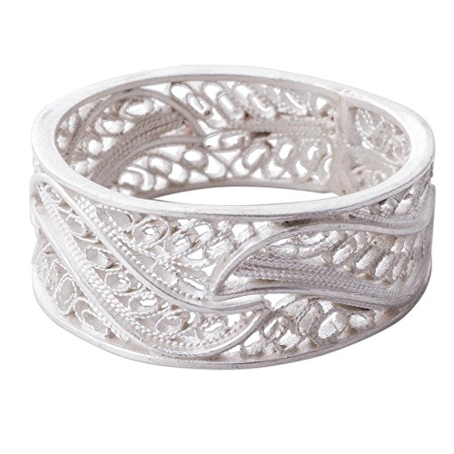 NOVICA .950 Silver Filigree Band Ring, Three - Filigree Wave