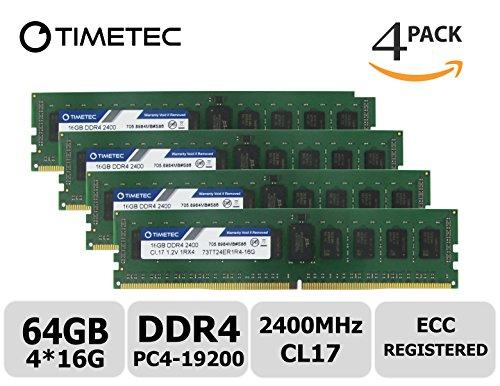 (Timetec Samsung IC 64GB Kit (4x16G) DDR4 2400MHz PC4-19200 Registered ECC 1.2V CL17 1Rx4 Single Rank 288 Pin RDIMM Server Memory RAM Module Upgrade (64GB Kit (4x16G)))