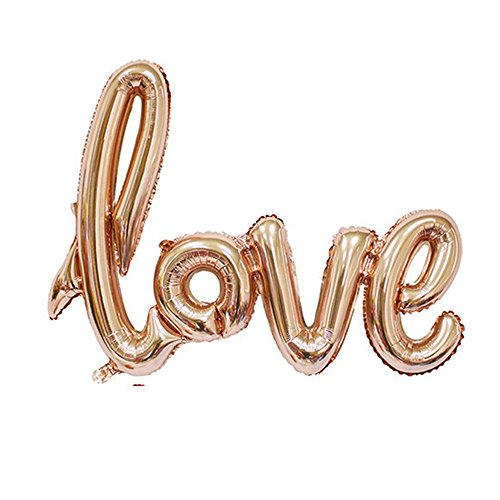 MOCOO 32 Inch Love Balloon Banner (2pcs) Romantic Wedding Bridal Shower Anniversary Engagement Party Decoration Vow Renewal Champagne Pink Balloon NU010C
