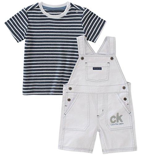 Calvin Klein Baby Boys 2 Pieces Shortall, White/Navy, 6-9 Months