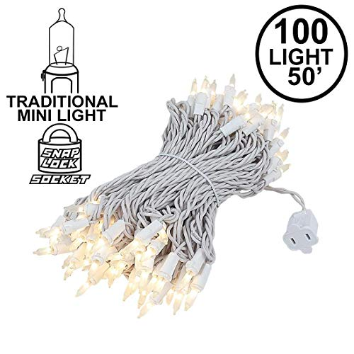- Novelty Lights 100 Light Frosted White Christmas Wedding Mini String Light Set, White Wire, Indoor/Outdoor UL Listed, 50' Long