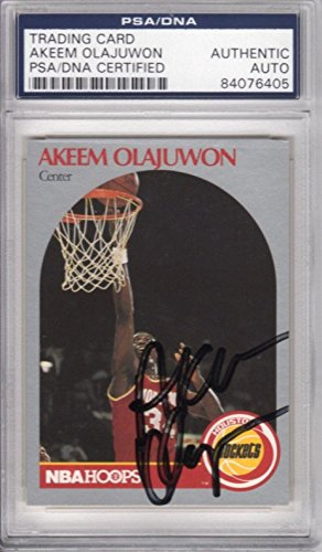 Akeem Hakeem Olajuwon Houston Rockets 1990 Hoops Signed AUTOGRAPH - PSA/DNA Certified - Basketball Slabbed Autographed Cards