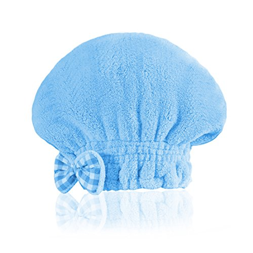SOFTOWN Microfiber Hair Drying Towel Cap Super Absorbent for Short Hair, 1 Pack, Blue, 9 x 12 inch