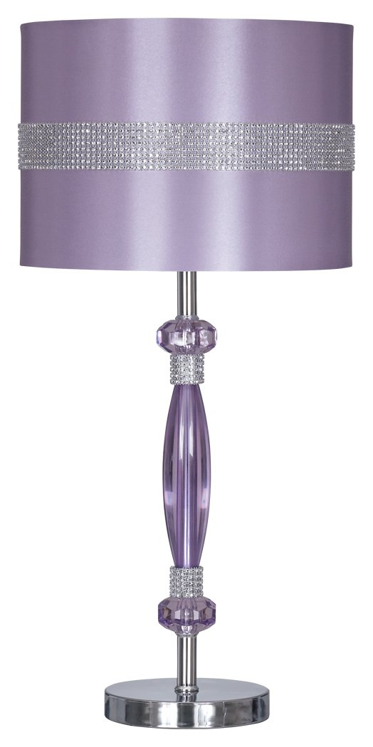Nyssa Table Lamp with Drum Shade - Purple and Silver Finish