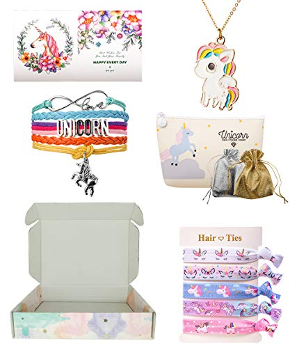 Unicorn Gifts for Girls, Unicorn Combo, Unicorn Makeup Bag/Purse Stainless Necklace Bracelet Wristband Hair Tie Gift Box Set, [Style -