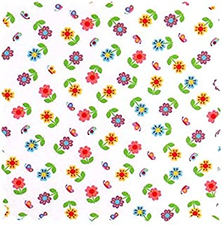 product image for SheetWorld 100% Cotton Percale Fabric by The Yard, Colorful Roses, 36 x 44