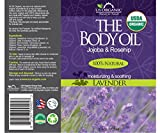 US Organic Body Oil - Elegant Lavender - Jojoba and Rosehip Oil with Vitamin E, USDA Certified Organic, No Alcohol, Paraben, Artificial Detergents, Color or Synthetic perfumes, 5