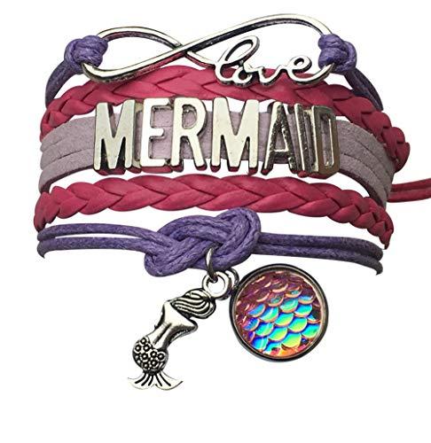 Girls Mermaid Charm Infinity Bracelet, Mermaid Jewelry for Girls
