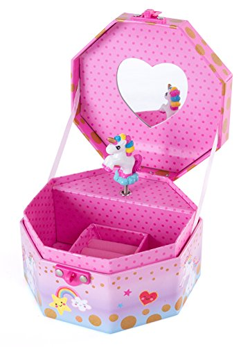 Unicorn Keepsake (Hot Focus Musical Girls Jewelry Box – Rainbow Unicorn Music Jewel Storage Box – Plays Beethoven's Für Elise)