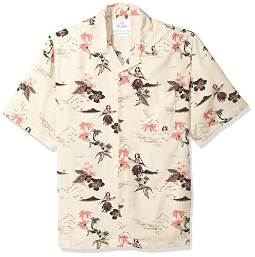 28 Palms Men's Relaxed-Fit Vintage Washed 100% Rayon Tropical Hawaiian Shirt, Hula Girl Pink/Cream, XX-Large