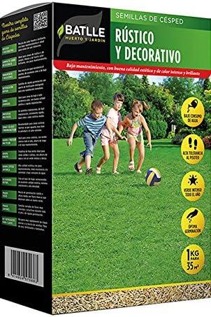 Semillas de Césped - Césped Rústico y Decorativo 1Kg - Batlle: Amazon.es: Jardín