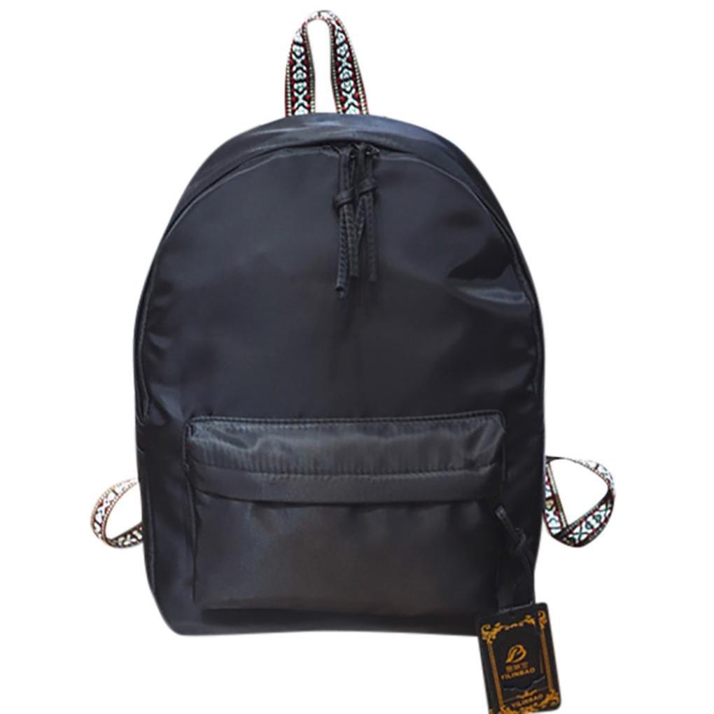BCDshop Rucksack Satchel Backpack School Travel Double Shoulder Bag For Women Men-Solid Color Black Red Green (Black)