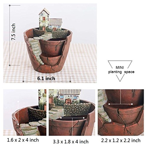 Plant Pot, Hgrope Mini Size Creative Fairy Garden Plant Containers, Hanging Garden Design with Sweet House for Flowers and Plants by Hgrope (Image #2)