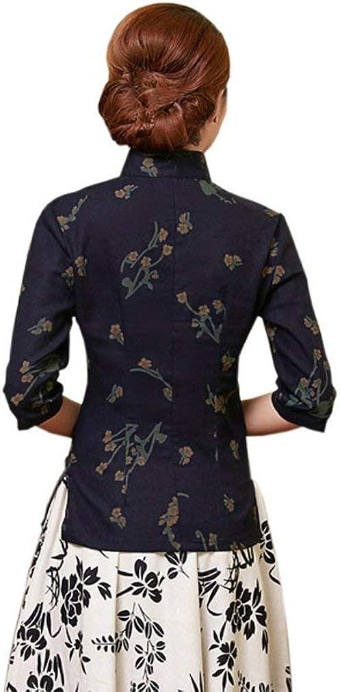 Bluse Donna Primaverile Autunno Eleganti Moda Unico Lunga Shirt Manica Collo Coreana Fiore Modello Stile Cinese Cheongsam Vintage Camicie Vita Alta Casual Tops