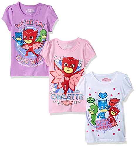 PJ MASKS Little Girls' 3 Pack Tee, Multi a, 4